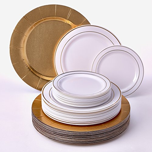 MODERN ELEGANT ECONOMICAL HEAVY PLASTIC PLATES Disposable Dinnerware Set | Golden Glare Collection by Silver Spoons | 60 Pcs | 20 X Charger Plates 20 X Dinner Plate and 20 X Salad Plate (White/Gold)