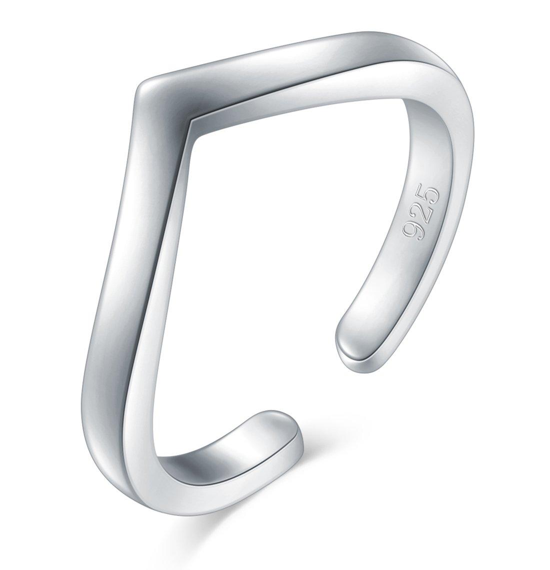 925 Sterling Silver Toe Ring BoRuo Wave Hawaiian Adjustable Band Ring