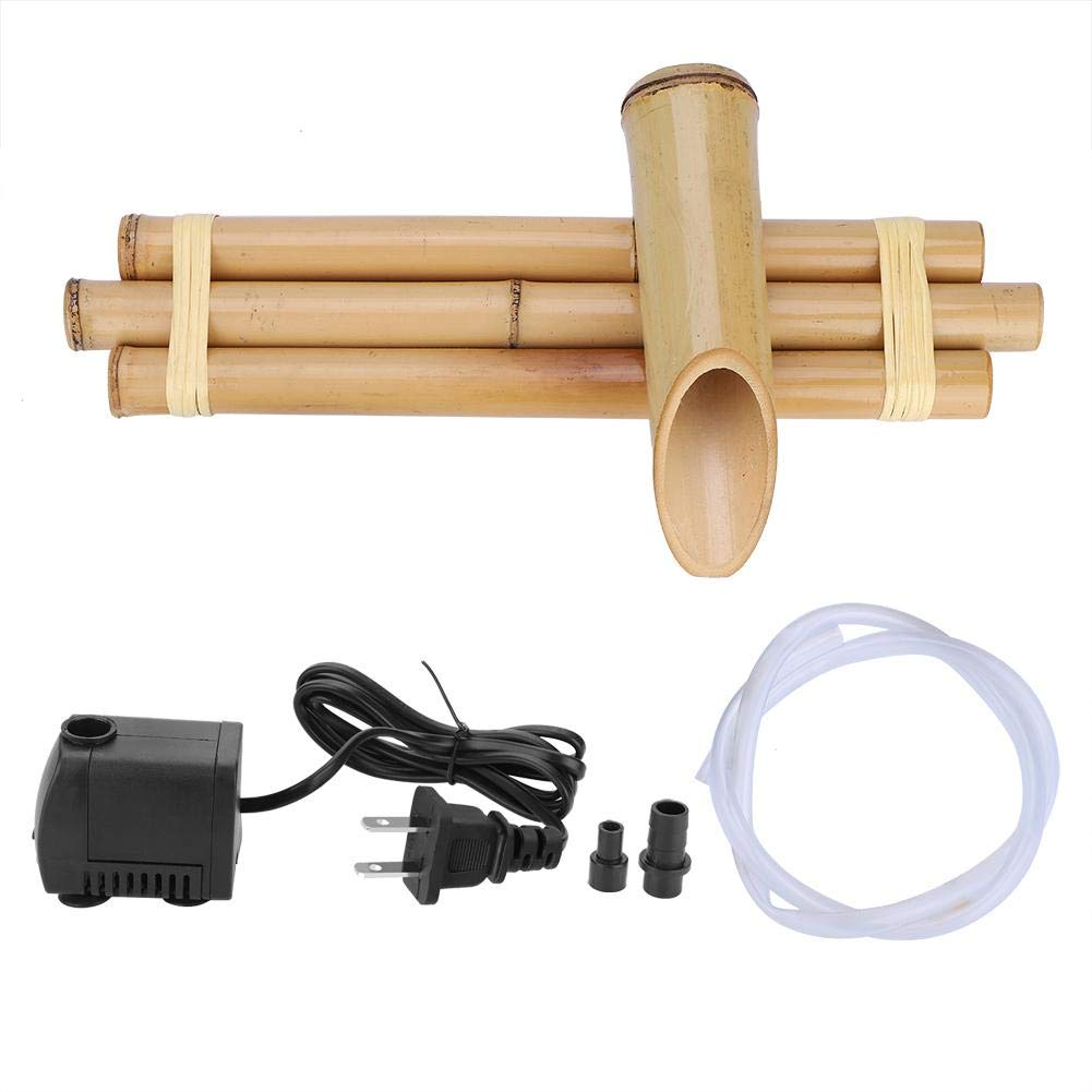 EBTOOLS Bamboo Fountain Set with Pump Three Arm Style Base Bamboo Fountain Spout Smooth Split-Resistant Bamboo Indoor Outdoor Decor(US Plug 110V)