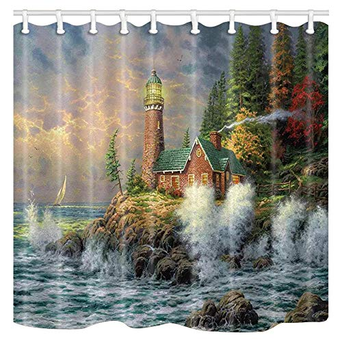 (ChuaMi Lighthouse Shower Curtain, Coast Waves and Cape Tower House, Green Forest Landscape, Bathroom Waterproof Decor Polyester Fabric 69 x 70 Inches with 12 Hooks, Beautiful Natural Art Painting )