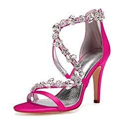 Open Toe Zipper Back Strap High Heel Fushia Sandals