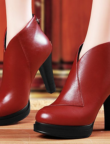 GGX/ Damen-High Heels-Lässig / Party & Festivität-Kunststoff-Blockabsatz-Absätze-Schwarz / Rot red-us5 / eu35 / uk3 / cn34