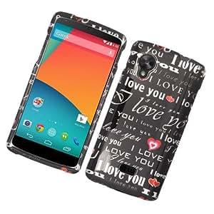 Black Love Text Hard Cover Case for Google Nexus 5 74G1