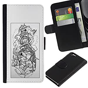Graphic Case / Wallet Funda Cuero - Floral Grey Woman Petal Black White - Apple iPhone 6 4.7