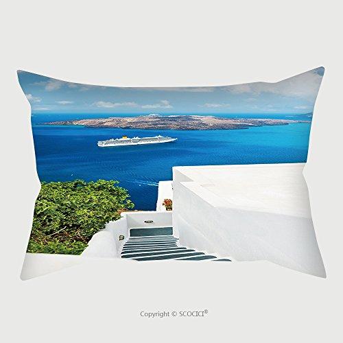 Custom Microfiber Pillowcase Protector White Architecture On Santorini Island, Greece_95229840 Pillow Case Covers Decorative