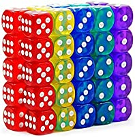 50-Pack 14MM Translucent & Solid 6-Sided Game Dice 5 Sets of Vintage Colors Dice for Board Games and Teaching Math Dice...