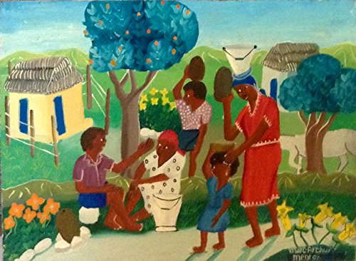 (Original Vintage Haitian Painting Rural Scene 12