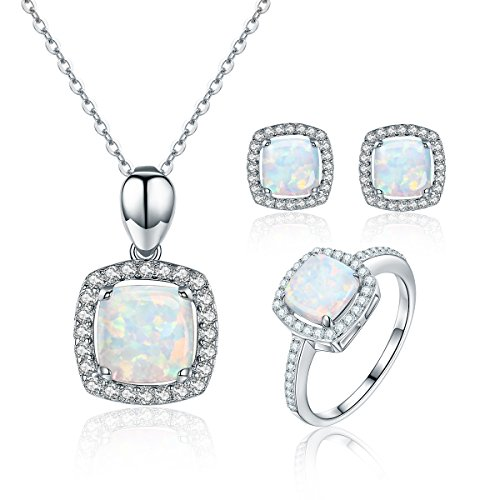 Jewelry Sets Cheap 925 Sterling Silver Diamond Cubic Zirconia Jewelery Set Rings 6 Stud Earings Pandent Necklace Wedding Jewelry Set for Girls BISAER -  HR0039+HUE039+HUN006+HUR075-6