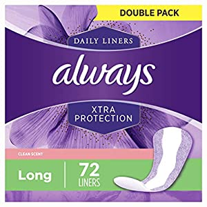 Always Xtra Protection Daily Feminine Panty Liners for Women, 288 Count, FSA HSA Eligible, Long Length, Fresh Scent, 72…