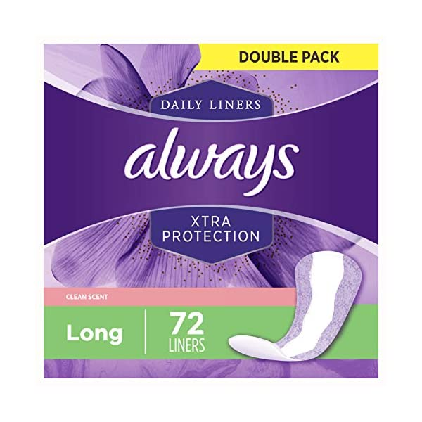 Always Xtra Protection Daily Feminine Panty Liners for Women, 288 Count, Long Length, Fresh Scent, 72 Count - Pack of 4…