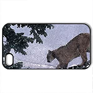 Big Cat Mountain Lion's Winter Trek - Case Cover for iPhone 4 and 4s (Cats Series, Watercolor style, Black)