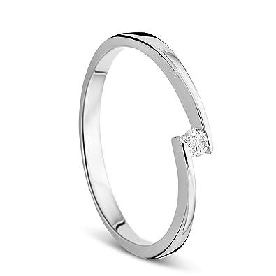 Bijoux pour femme, Bague de fiançailles solitaire en or blanc avec diamant