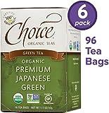 Choice Organic Teas Green Tea, 6 Boxes of 16 (96 Tea Bags), Premium Japanese Green