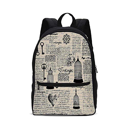 Old Newspaper Decor Fashion Canvas printed Backpack,Grunge Pattern with Bird Cages Keys Heart Shapes and Flower Decorative for school,One_Size