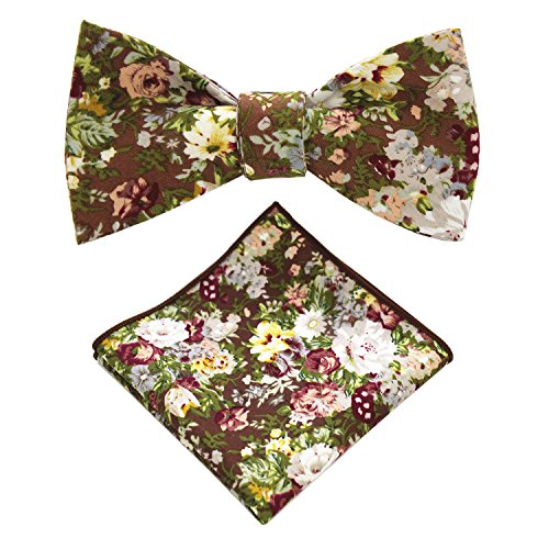JEMYGINS Cotton Floral Self Tie Bow Tie and Pocket Square Set for Men (13)
