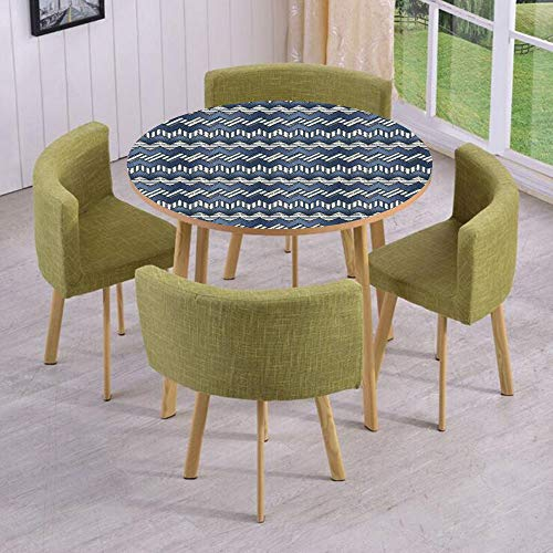 - iPrint Round Table/Wall/Floor Decal Strikers,Removable,Patchwork of Denim Fabric in Nautical Style Stitch Stripes Jeans Zigzag Chevron Decorative,for Living Room,Kitchens,Office Decoration