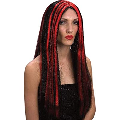 Long Black Red Vampiress Vampire Halloween Wig