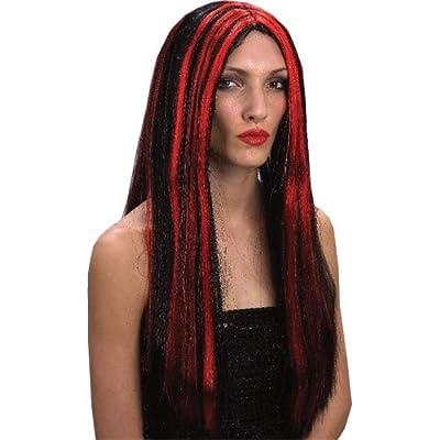 Long Black Red Vampiress Vampire Halloween Wig
