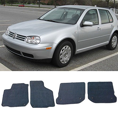Floor Mat Fits 1999-2005 Volkswagen Gli Golf Jetta Mk4 | Front & Rear Gray 4PC Nylon Car Floor Carpets Carpet liner by IKON MOTORSPORTS |  2000 2001 2002 2003 2004 ()
