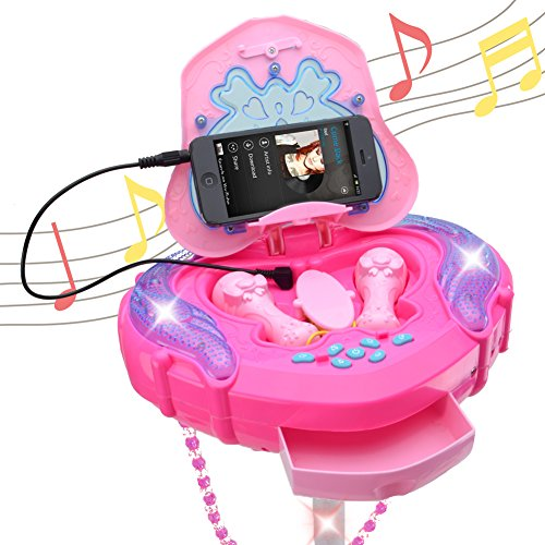 HANMUN Kids Karaoke Machine with 2 Microphones and Adjustable Stand,Music Sing Along with Flashing Stage Lights and for Fun Musical Effects,Pink by HANMUN (Image #1)
