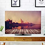 PRUNUS Cover for Wall Mount tv Taj Mahal India Seven Wonders Travel Destination Concept Cover Mount tv W19 x H30 INCH/TV 32''