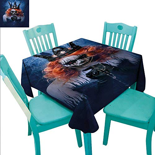 Queen Easy Care Tablecloth Queen of Death Scary Body Art Halloween Evil Face Bizarre Make Up Zombie Runners,Gatsby Wedding,Glam Wedding Decor,Vintage Weddings 60