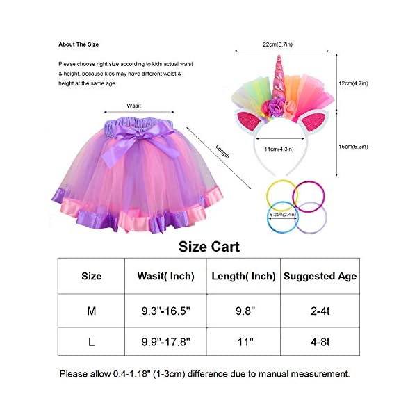Toy4baby Little Girls Layered Rainbow Tutu Skirts with Wings Unicorn Headband and Bracelets 6