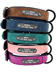 Didog Custom Leather Dog Collars with Personalized Engraving Nameplate,Personalized Padded Dog Collars Engraved for Small Medium Large Dogs