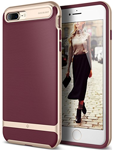 iPhone 7 Plus Case, Caseology [Wavelength Series] Slim Ergonomic Ripple Design [Burgundy] [Modern Grip] for Apple iPhone 7 Plus (2016)