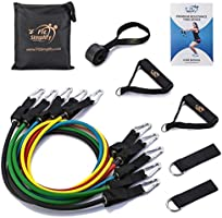 Fit Simplify Resistance Band Set 12 Pieces with Exercise Tube Bands, Door Anchor, Ankle Straps, Carry Bag and Instruction...