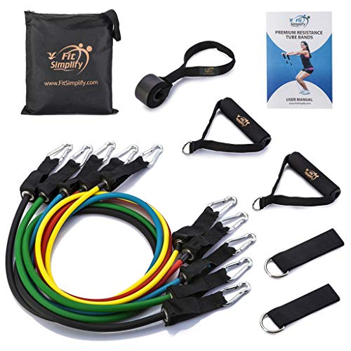 Rubber Tubing Exercise - Fit Simplify Resistance Band Set 12 Pieces with Exercise Tube Bands, Door Anchor, Ankle Straps, Carry Bag and Instruction Booklet - Bonus Ebook and Online Workout Videos