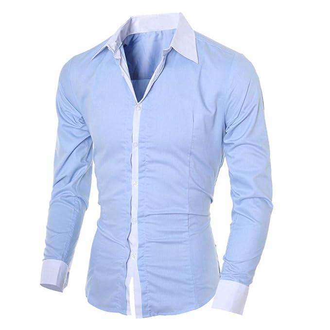 Camisetas Hombre de BaZhaHei, Blusa superior de manga larga delgada ocasional de los hombres de