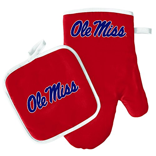 Oven Mitt and Pot Holder Set - Barbeque BBQ Kitchen Backyard Outdoors - NCAA - Mississippi Rebels - Ole Miss ()