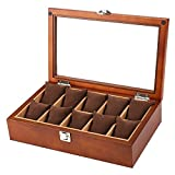 ANHPI Solid Wood Watch Box 10 Slots Large-Capacity Watch Jewelry Display Storage Boxes with Glass Top and Removal Storage Pillows with Lockable Keys,Brown