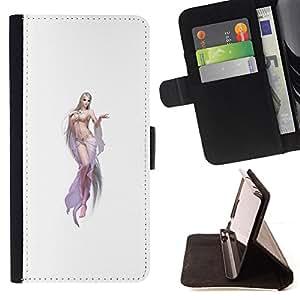 BullDog Case - FOR/Samsung Galaxy S5 Mini, SM-G800 / - / elf sexy woman white lingerie legs chick /- Monedero de cuero de la PU Llevar cubierta de la caja con el ID Credit Card Slots Flip funda de cuer