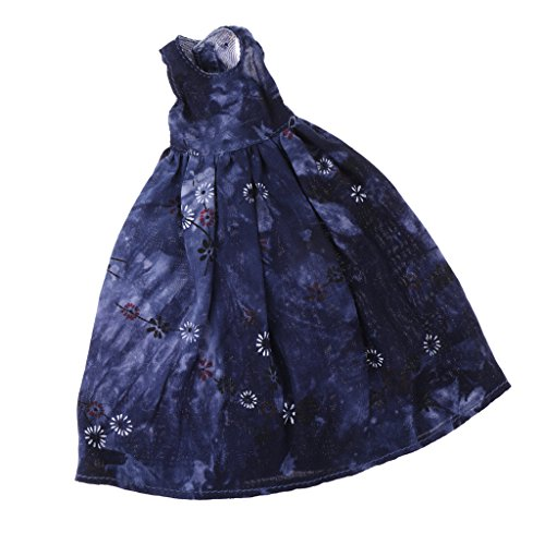 MagiDeal Fashion Sleeveless Flower Printed Dress Skirt Casual Outfit for 1/6 Pullip Blythe Azone Dolls Clothes Collections Blue