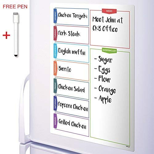 CKB LTD Colour Shopping Refrigerator Planner Fridge Board Dry Erase Magnetic with Marker White Board & Pen Drywipe Magnet Whiteboard Kitchen Memo Notice Large Daily Erasable