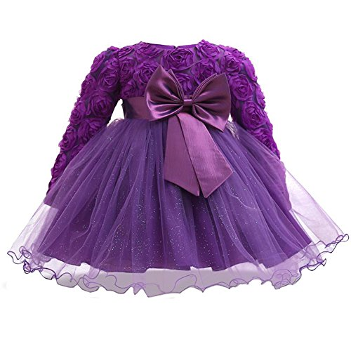 Myosotis510 Girls' Lace Princess Wedding Baptism Dress Long Sleeve Formal Party Wear for Toddler Baby Girl (7-12Months, Rose Purple)