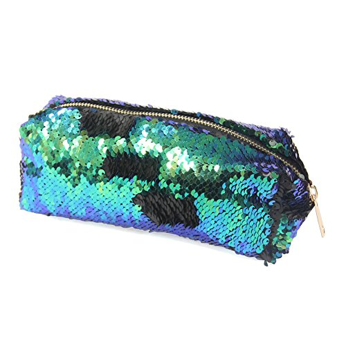 MHJY Cosmetic Bag Mermaid Sequin Makeup Pouch Fashion Double Color Makeup Bags DIY Reversible Sequins Handbag Glitter Pencil Case (Pouch Color)