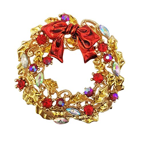 (XGALA Red Enamel Crystal Wreath Christmas Brooch Pin Gold Tone)