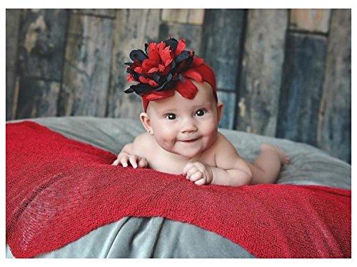 Headband Jamie Rae Hats - Jamie Rae Hats Red Soft Headband with Black Red Small Peony, Size: 12m+