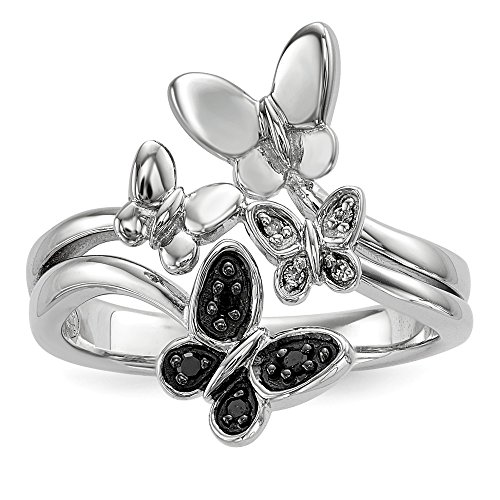 Size 8 Solid 925 Sterling Silver White & Black Diamond Butterfly Ring (3mm) (1/20ct.)