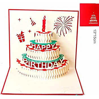Amazon happy birthday cake pop up greeting card office products paper spiritz pop up cards birthday handmade 3d pop up birthday card for women men kids with envelope laser cut gift cards birthday cake with candle bookmarktalkfo Gallery