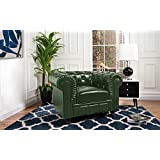 Divano Roma Classic Chesterfield Scroll Arm Tufted Leather Match Accent Chair (Green)