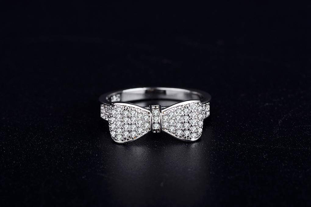 FENDINA 18k White Gold Plated White Cubic Zirconia CZ Band Bow Ring Fashion Women Jewelry, Gifts for Graduation by FENDINA (Image #2)