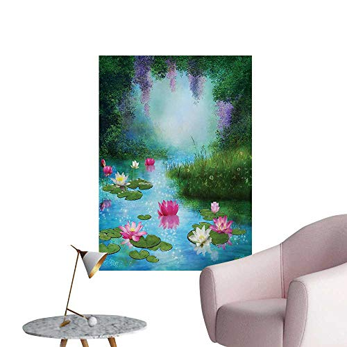 Anzhutwelve Nature Wall Sticker Decals Fantasy Pond with Water Lilies Floating Romantic Lotus Fairy Tale Digital ArtAqua Pink Green W24 xL36 Wall Poster ()