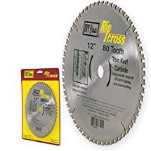 IVY Classic 36226 Ripcross 12-Inch 80 Tooth Thin Kerf Carbide Circular Saw Blade with 1-Inch Arbor, 1/Card