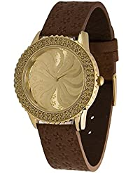 Moog Paris - Vertigo - Women's Watch with champagne dial, brown strap in Genuine calf leather, made in France...
