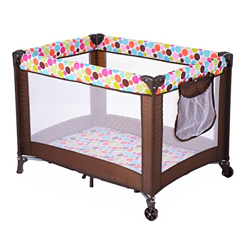 Costzon Play Playard Baby Bassinet Travel Portable Bed Playpen Toddler Foldable