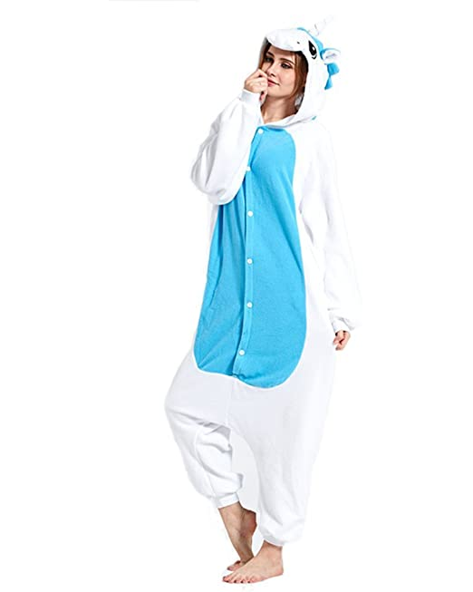 WRH Kigurumi Pijamas Unicornio Leotard / Onesie Festival / Holiday Animal Pijamas Halloween Azul Patchwork Polar